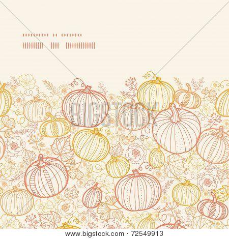 Vector thanksgiving line art pumkins horizontal frame seamless pattern background