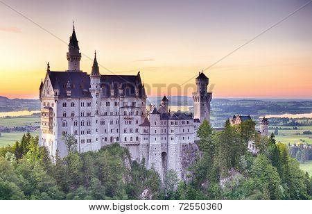 Neuschwanstein Castle By Sunset