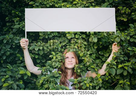Woman With Message About Ecology Or Nature