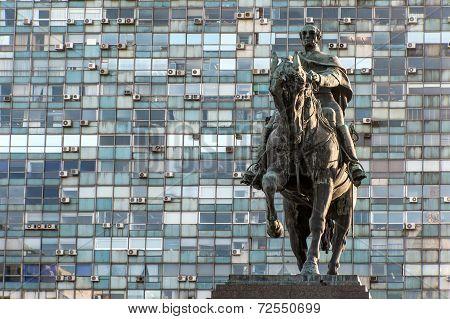 Statue Of General Artigas In Plaza Independencia, Montevideo, Uruguay