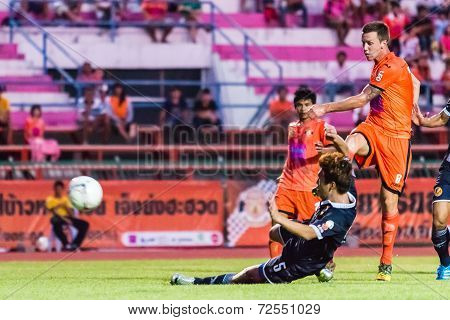 Sisaket Thailand-september 21: Brent Mcgrath Of Sisaket Fc. Shooting Ball During Friendly Match Betw