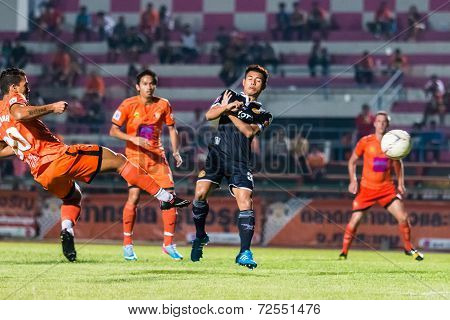 Sisaket Thailand-september 21: David Bala Of Sisaket Fc. Shooting Ball During Friendly Match Between