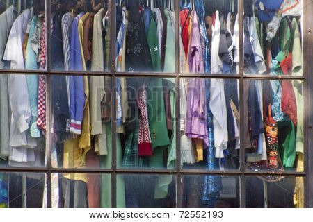 Used Clothing In A Window