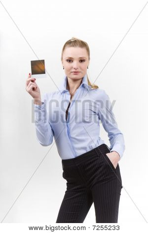 Beautiful Woman Holding A Blank