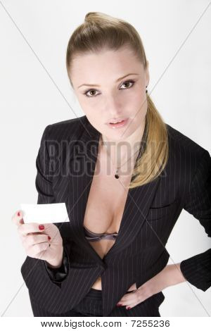 Sexy Girl Holding Business Card