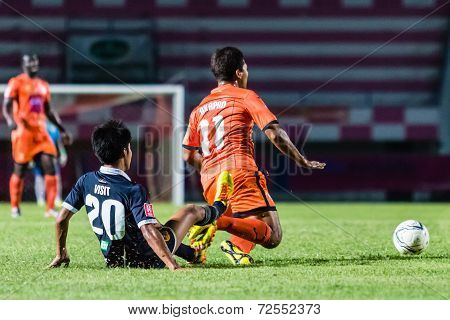 Sisaket Thailand-september 21: Eakkapan Nuikhao Of Sisaket Fc. (orange) In Action During Friendly Ma