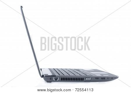 A laptop computer on a white background.