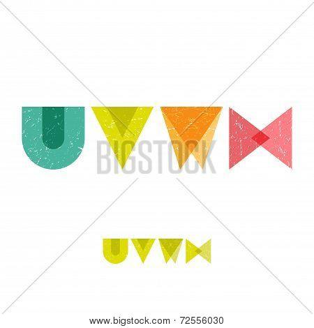 U V W X - Grunge Flat Alphabet Set
