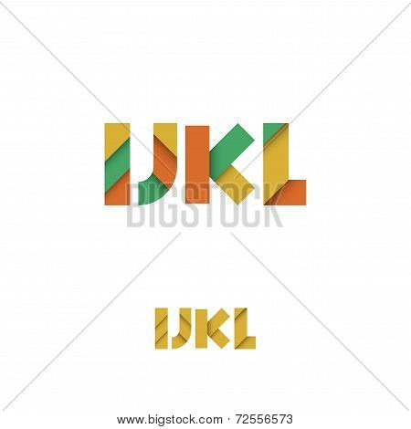I J K L Modern Colored Layered Font Or Alphabet