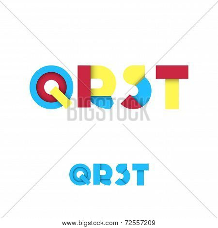 Q R S T Modern Colored Layered Font Or Alphabet