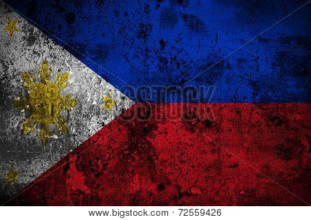 Grunge Flag Of The Philippines With Capital In Manila