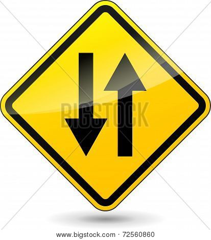 Two Way Yellow Sign