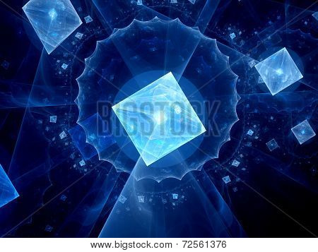 Square Shaped Glowing Astract Fractal Background