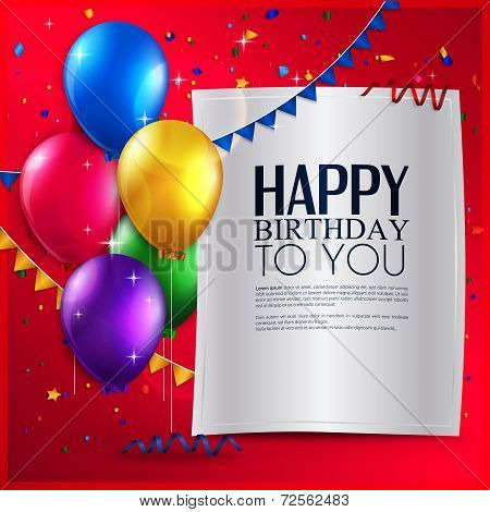 Birthday card with balloons, and birthday text on red background.