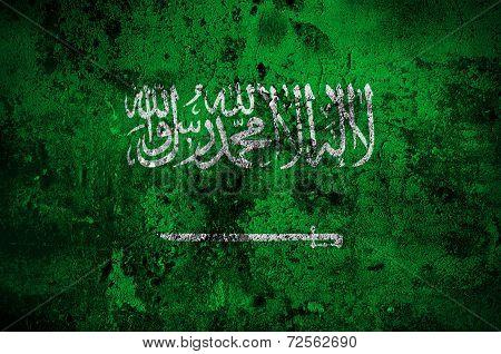 Grunge Flag Of Saudi Arabia With Capital In Riyadh