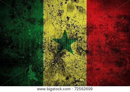 Grunge Flag Of Senegal With Capital In Dakar