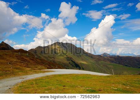 Steep Road In Tirol Mountains,austria - Hdr Image