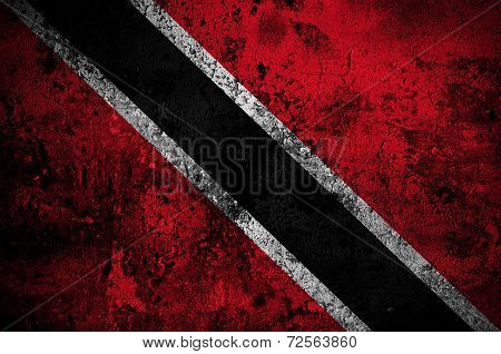 Grunge Flag Of Trinidad And Tobago With Capital In Port Of Spain