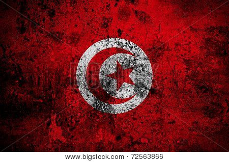 Grunge Flag Of Tunisia With Capital In Tunis