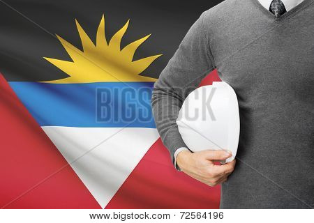 Architect With Flag On Background  - Antigua And Barbuda