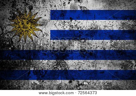 Grunge Flag Of Uruguay With Capital In Montevideo