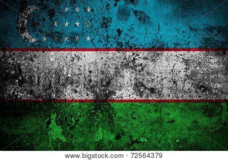 Grunge Flag Of Uzbekistan With Capital In Tashkent