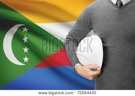 Architect With Flag On Background  - Comoros