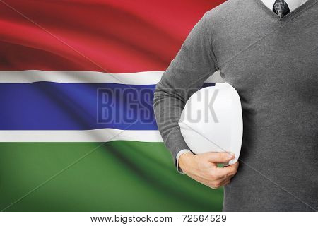 Architect With Flag On Background  - Gambia
