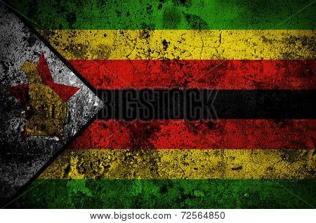 Grunge Flag Of Zimbabwe With Capital In Harare