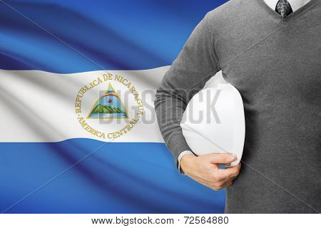 Architect With Flag On Background  - Nicaragua