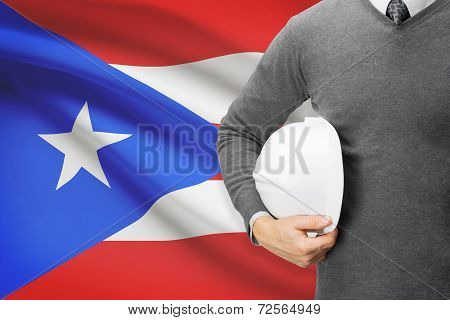 Architect With Flag On Background  - Puerto Rico
