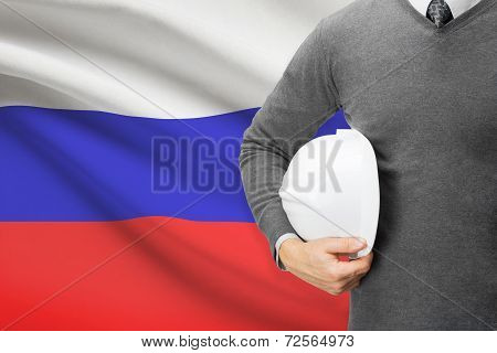 Architect With Flag On Background  - Russia