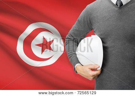 Architect With Flag On Background  - Tunisia