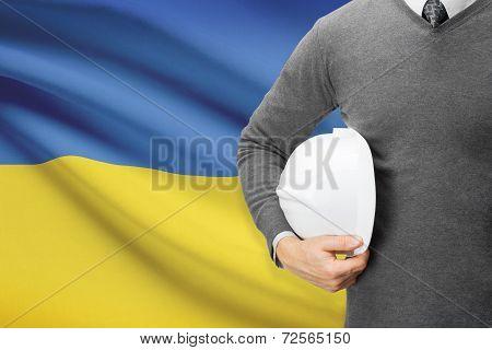 Architect With Flag On Background  - Ukraine