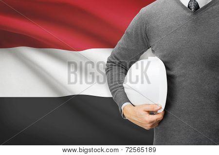 Architect With Flag On Background  - Yemen