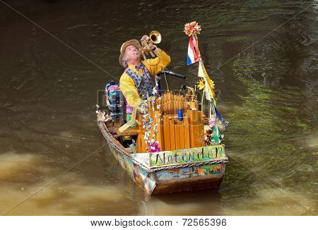 Amsterdam - Unknown Musician In A Boat