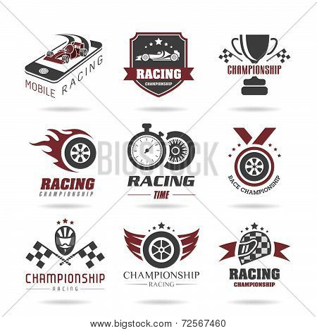 Racing icon set, sport icons and sticker - 3