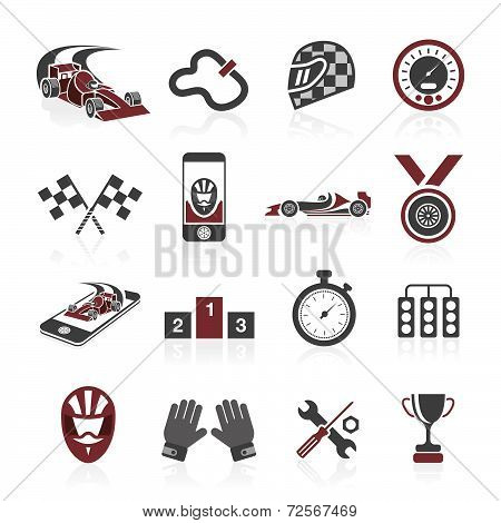 Racing icon set, sport icons and sticker