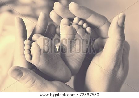 Baby feet cupped into mothers hands