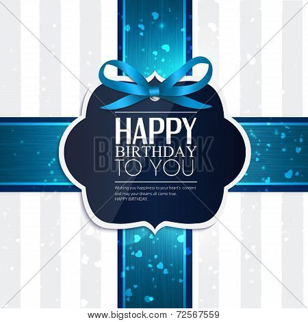Birthday card with ribbon and birthday text