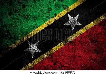 Grunge Flag Of Saint Kitts And Nevis With Capital In Basseterre