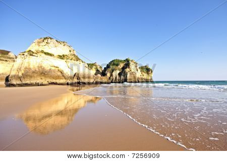Natural rocks at Alvor in the Algarve in Portugal