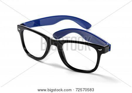 Black Frame Hipster Eyeglasses Isolated On White