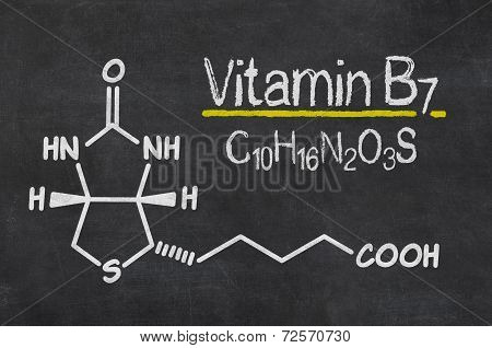 Blackboard with the chemical formula of Vitamin B7