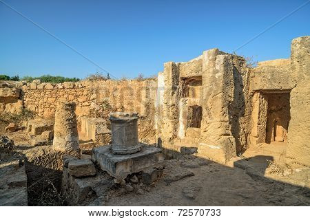 Ruins Of Ancient Town In Paphos On Cyprus
