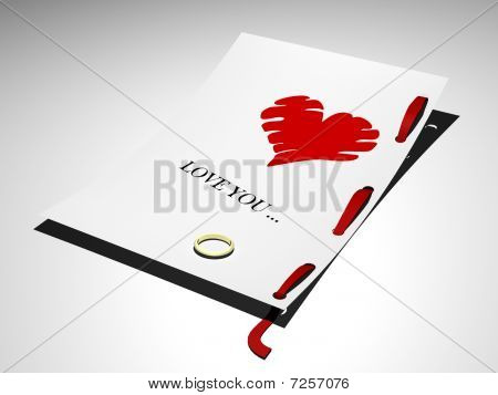 Letter with words love you