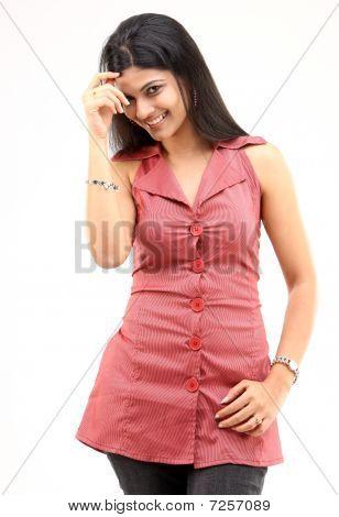 Young girl feeling shy