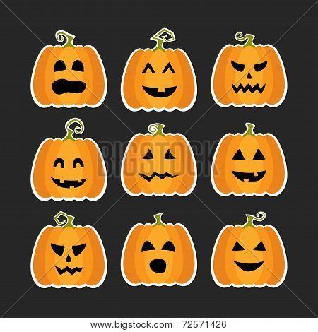 Halloween Pumpkins Flat Stikers Set