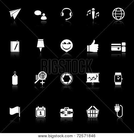 Technology Gadget Screen Icons With Reflect On Black Background