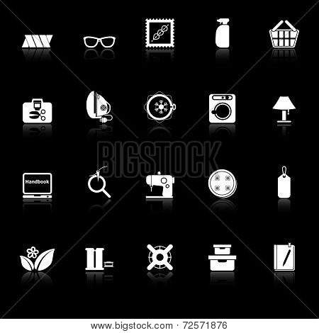 Sewing Cloth Related Icons With Reflect On Black Background